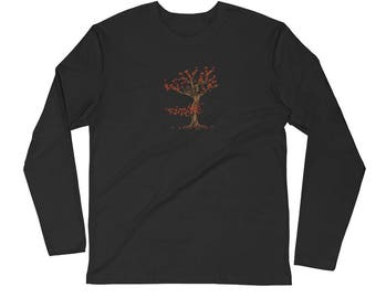 Autumn Tree Spirit Fantasy Dryad Fall T Shirt Long Sleeve Fitted Crew