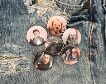 horror movie starter pack, pin set, pin back button grab bag, hannibal, pennywise, michael myers, horror buttons