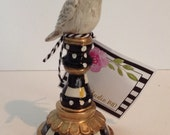 Hand Painted Black / White Check Bird Finial!!