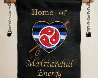 Personalized  BDSM embroidered wall banner with crop & BDSM emblem