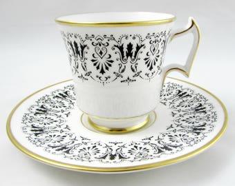 """Royal Chelsea Tea Cup and Saucer, """"Sheringham"""", Black Design, Vintage Bone China"""