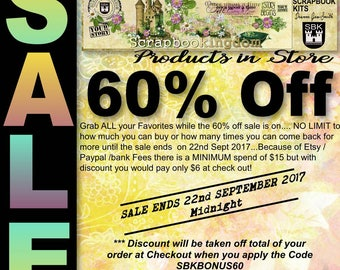 SALE !! SALE !!  60% OFF all products until 22nd Sept. 2017 enter code at checkout for your discount  SBKBONUS60