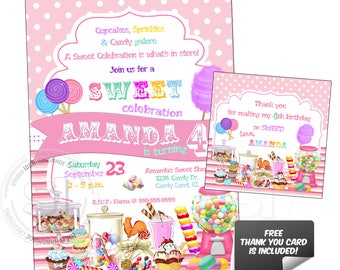 Candies Sweet Birthday Party-Custom Printable Invitation with FREE Thank you Matching Tag-DIY Digital File-Custom Birthday Invitation