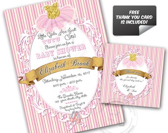 Tutu Ballerina Baby Shower or Birthday Custom Printable Invitation with FREE Thank you Matching Tag-DIY Digital File