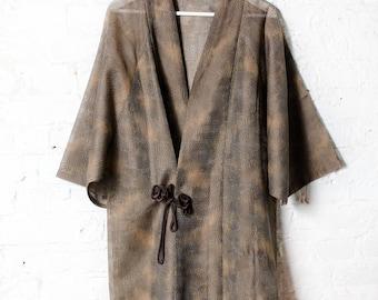 Vintage Sheer Woven Japanese Kimono Jacket / Womens Summer Jacket