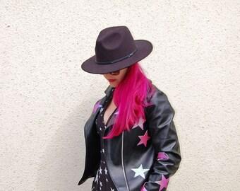 Black faux leather handmade starry eyed  jacket  | Custom Jacket | Alternative Bride | Rockabilly