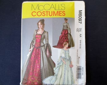 Victorian Top & Skirt with Bustle and Train Uncut Pattern, McCalls Costumes 6067, Size 6, 8, 10, 12