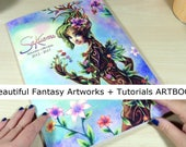 """Fantasy ARTBOOK full color A4 8x11"""" art collection tutorials sketches fantasy women beautiful characters how to watercolor by sakuems"""