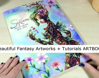 "Fantasy ARTBOOK full color A4 8x11"" art collection tutorials sketches fantasy women beautiful characters how to watercolor by sakuems"