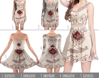 Marauder's Map Harry Potter Inspired - Dress in XS-3XL - Flared, Bodycon, or Skater Style 000938