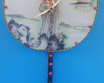 Upcycled Chinese Hand Fan Wall Clock, Functional Art, Handmade, Chinese Fan Clock, Repurposed, Recycled, Fabric Hand Fan,  Made By Mod.