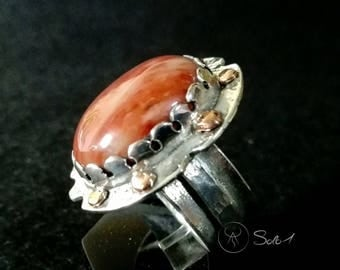 Silver Red jasper ring with copper details