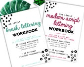 BUNDLE of 2 Lettering Workbooks with 80 Hand Lettering Practice Worksheets - Brush/Script -for Procreate & Print, Modern Calligraphy, Ipad