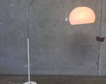 vintage mid century white and chrome arc floor lamp 1bxntq