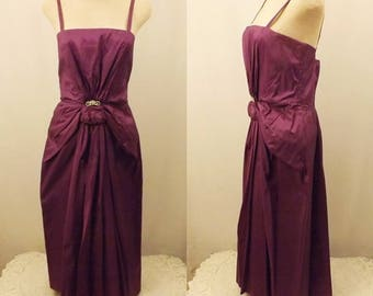 50's Vintage Purple Satin Party or Cocktail Dress Size 6 / 8