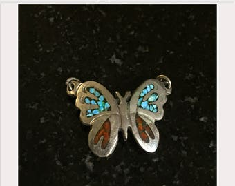 Butterfly Charm Turquoise Coral Inlay