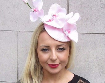 Light Baby Pink Orchid Flower Fascinator Hat Headband Races Wedding Clip 3325