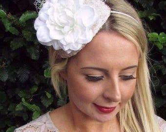 Champagne Ivory Cream Flower Fascinator Wedding Races Net Headband Teardrop 3523
