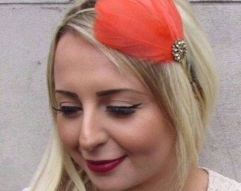 Coral Orange Gold Feather Fascinator Headband Headpiece 1920s Flapper Races 3577