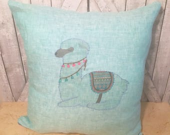 Alpaca Pillow Linen Pillow Hand Embroidered Pillow Alpaca Decorative Pillow Alpaca Throw Pillow