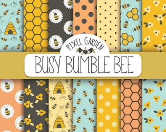 Bee Digital Paper. Honeycomb Scrapbook Paper. Bumble Bee Digital Background. Honeybee, Honey, Hive, Summer Papers in Turquoise, Pink, Yellow