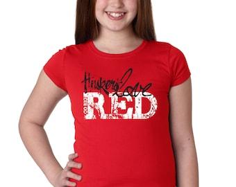 Nebraska Cornhuskers Go Big Huskers Love Red Youth Girls Tee Shirt Officially Licensed Husker Gear by CornBorn Apparel