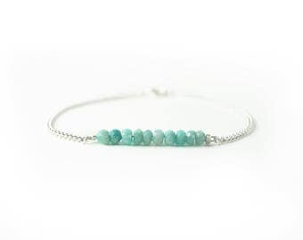 Natural amazonite bracelet, silver and gold chain