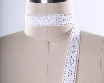 2 Yards White Crochet Cluny Trim/ White Bobbin Lace. Done with Geometric Pattern. Perfect for Curtains Doilies