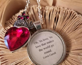 Alice in Wonderland Quote Necklace, Heart Charm, Lewis Carroll, 'Tis Love that Makes the World Go Round, Ready to Ship, MarjorieMae