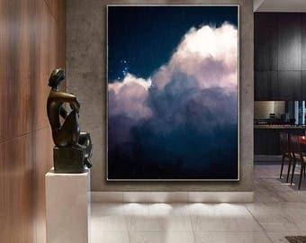 Large Wall Art, Cloud Painting Print, Cloud Print, Cloudscape Art Print,  Abstract