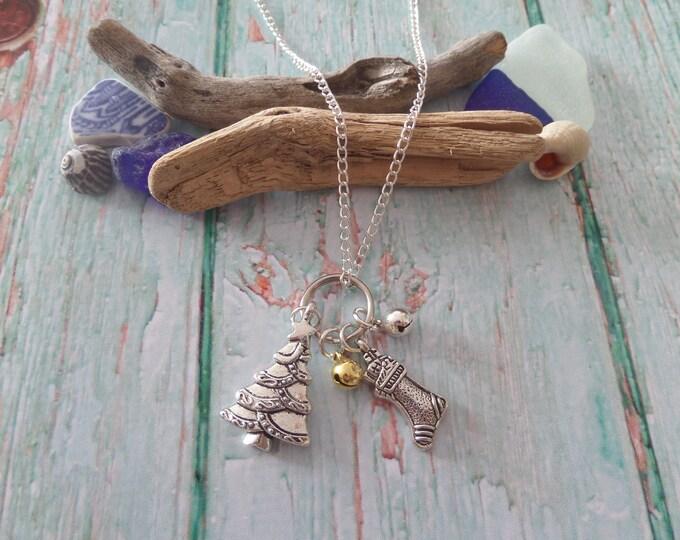 Christmas necklace, christmas gift, jingle bells gift, novelty jewelry, xmas story, xmas tree gift, tree necklace, xmas stocking gift
