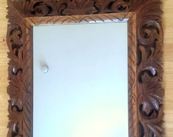 vintage french carved oak frame mirror