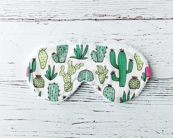 Sleep Mask - Eye Mask - Succulent - Cactus Gifts - Stocking Stuffers - Gifts For Her - Cactus Party Favors - Christmas In July