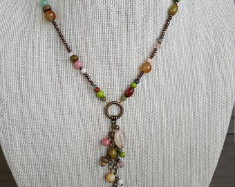 Multi Colored Dangling Chain Pendant Necklace