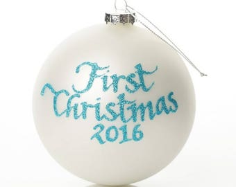 First Christmas Boy Personalised Christmas Bauble