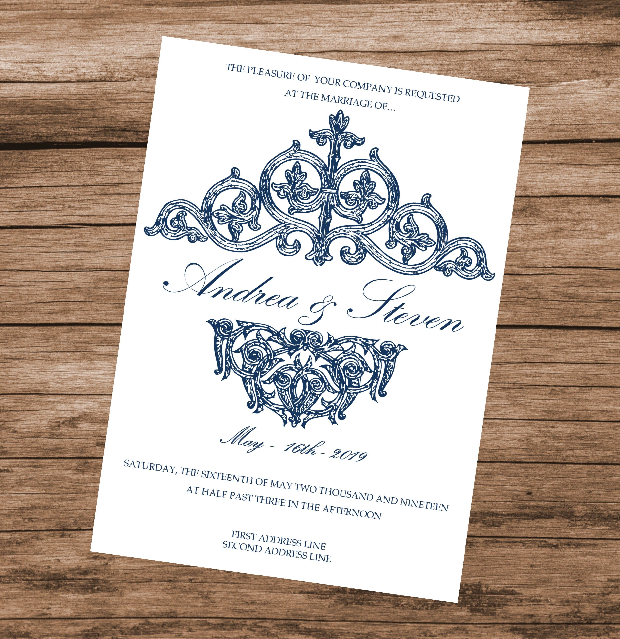 Blue Vintage Wedding Invitation Template Baby Shower Bridal Invite INSTANT