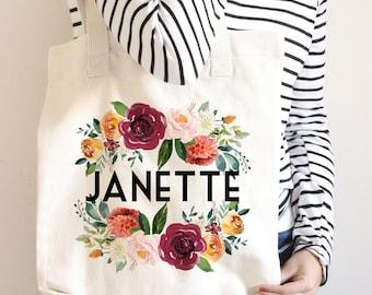 Personalized Bridal Tote Bag, Bridesmaid Tote Bag, Maid of Honor Tote Bag, Monogrammed Tote Bag, Marsala Wedding, Winter Wedding