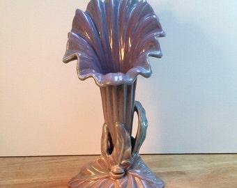Summer Sale! Art Nouveau Style Vintage Vase, Home Decor, Ceramic Calla Lilly Vase, Purple Trumpet Vase, Style No. 1621