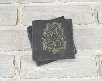 Harry Potter - House Crest - Slate Coasters - Pick Any House - Mix and Match - Set of 4 - Gryffindor. Ravenclaw. Slytherin. Hufflepuff.