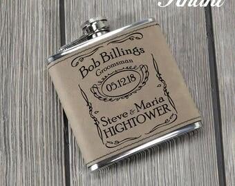 Leather Groomsman Flask - Groomsmen Gift - Wedding Flask - Groomsman Flasks -  Bridal Party - Wedding Gift - Personalized Flask