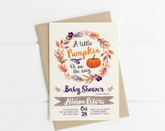 Little Pumpkin Fall Baby Shower Invitation Printable, Gender Neutral Invite, Autumn Colors, is on the way, Orange and Brown Harvest, October