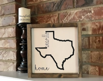 Texas Home Town Signs, Custom signs with your home town and state. Texas Home, Personalized Hometown, State Sign, Framed Wood Sign, Add your