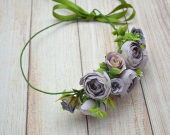 Wedding crown Wedding flower crown Dusty Purple flower headband Wedding flower halo Wedding flower headpiece Rustic wedding halo Bridal halo