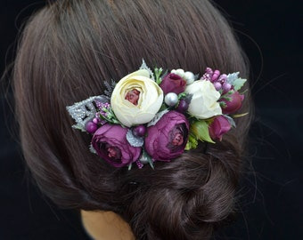 Gift/for/friend Flower comb Purple ivory headpiece Silver flower comb Plum hair comb Wedding floral comb Bridal flower comb Boho wedding