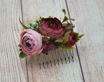 Gift/for/daughter Burgundy hair accessories Blush Pink flower comb Bridal flower hair comb Wedding head piece Bridal fascinator Flower girl