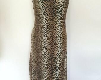 Vintage dress 90s by Joseph Ribkoff bias cut animal print dress size medium