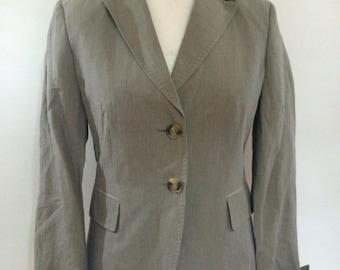 Vintage Linen mix jacket 90s Max Mara Weekend taupe striped blazer jacket size medium UK 12
