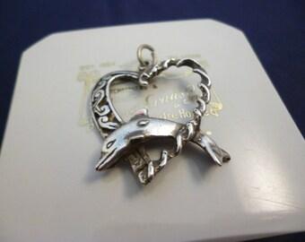 """A unique silver dolphin heart pendant - 925 - sterling silver - 1.3"""" x 1.1"""""""