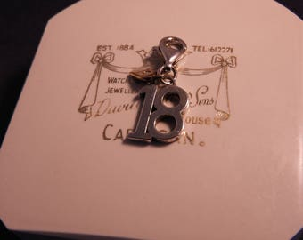 "A silver ""18"" charm - 925 - sterling silver - with sparkly heart - i"