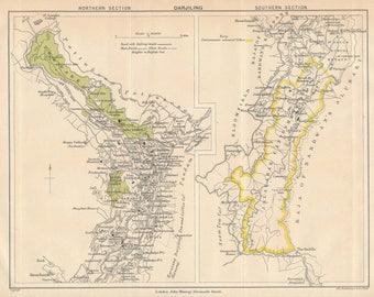 1905 Darjeeling India Antique Map